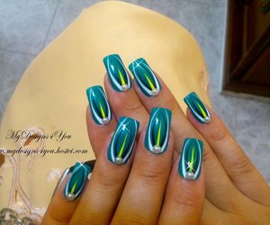 pearl, black and white nails, and turquoise nails image