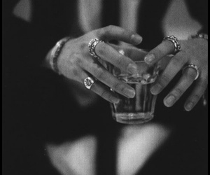 black and white, drink, and hands image