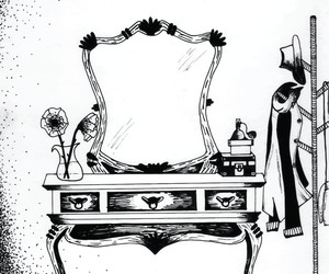 drawing, dressing table, and mirror image