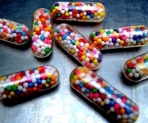 pills, candy, and colors image