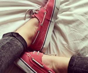 red, shoes, and sperry image