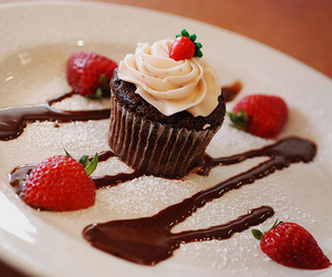 cupcake, strawberry, and chocolate image