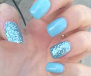 nails blue glitter image