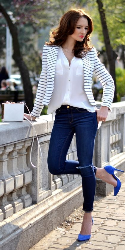 size 40 d2e32 de546 royal blue blazer women outfits