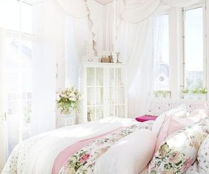 white, bedroom, and pink image