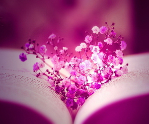 flowers, book, and heart image