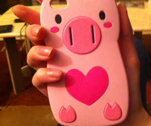 heart, iphone, and pig image