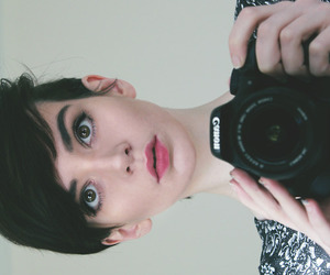 camera, girl, and short hair image