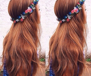 hair, flowers, and long image