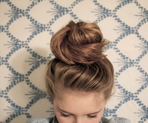 hair, bun, and girl image
