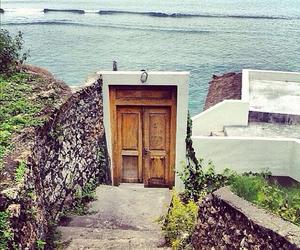 door, sea, and beach image