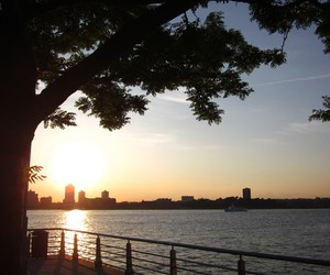 hudson river, new york, and sunset image
