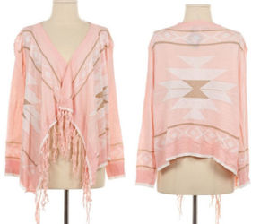 pink aztec, aztec cardigan, and pink tribal image