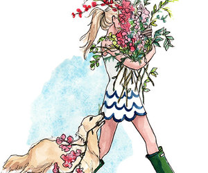 flowers, dog, and girl image