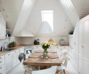 kitchen, modern, and wooden table image