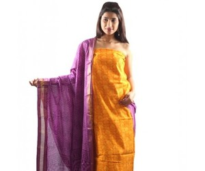 yellow printed suit and salwar material image