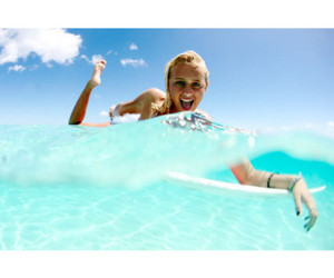 girl, surfing, and fun image