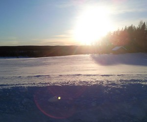 sunset, sweden, and winter image