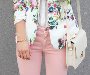 bag, floral, and pink image