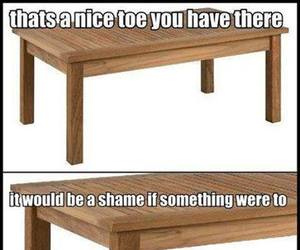 funny, table, and toes image
