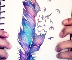 i want, cute, and feather drawing image