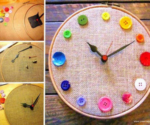 diy, clock, and buttons image