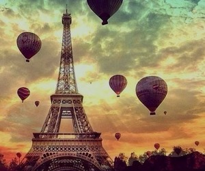 air balloon, love, and paris image