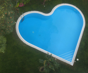 heart, pool, and water image