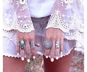 blue, boho, and white image