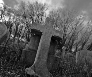 black, coffins, and cross image