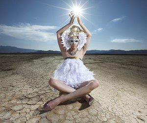 blue sky, Burning Man, and clouds image