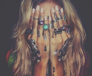 rings, tattoo, and nails image