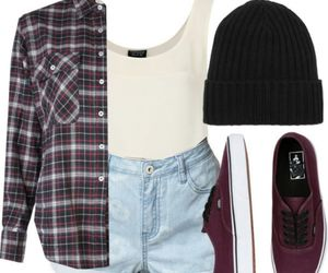 vans, beanie, and outfit image