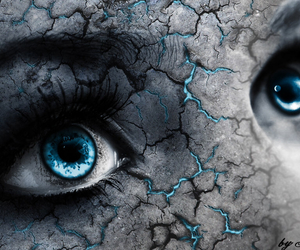 blue, broken, and eyes image