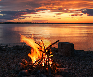 fire, beach, and sunset image