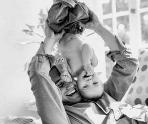 baby, dad, and black and white image