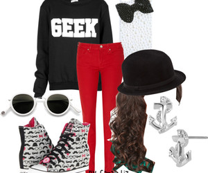 black and white, fashion, and geek image