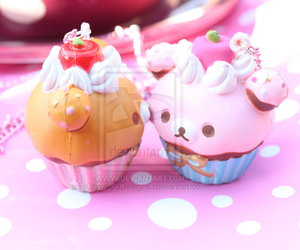 bear, brown, and cup cakes image