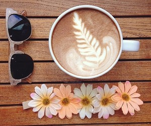 flowers, coffee, and glasses image