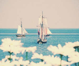 sea, flowers, and boat image