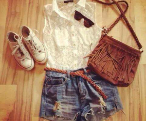 bag, outfit, and shorts image