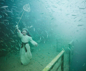 fish, underwater, and little girl image