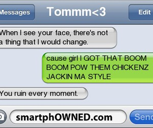 text and smartphowned image