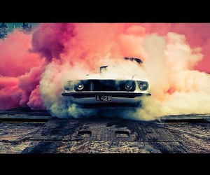 car, mustang, and smoke image