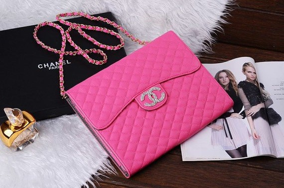 Hot Pink Luxury Cc Handbag Style Ipad Leather Case Cover For Mini Air 2 3 4