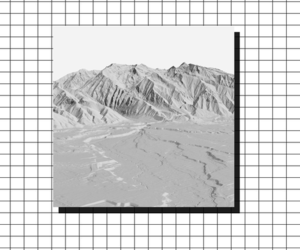 black and white, grid, and mountains image