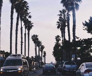 california, cars, and palm trees image
