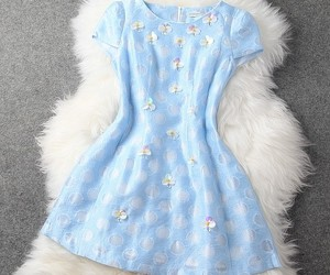 blue dress, cute dress, and embroidered dress image