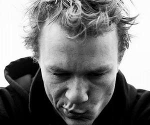 heath ledger and black and white image