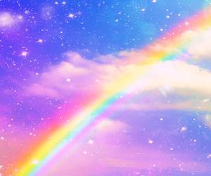 rainbow, stars, and cute image